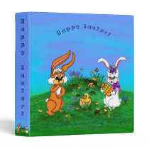 Happy Easter! Rabbit with Bunny and Chick 3 Ring Binder