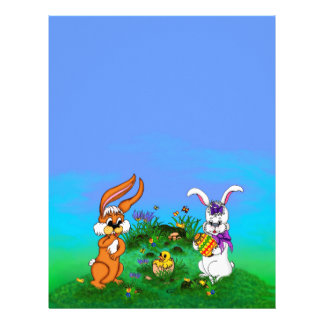 Happy Easter! Rabbit with Bunny and Chick Letterhead