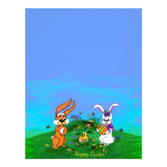 photo regarding Easter Bunny Letterhead identify Pleased Easter! Rabbit with Bunny and Chick Letterhead