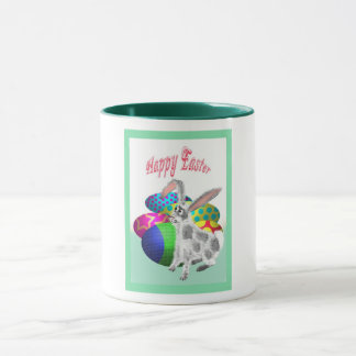 Happy Easter, Rabbit with Easter eggs Mug