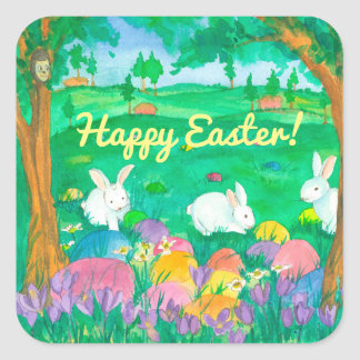 Happy Easter Rabbits Square Sticker