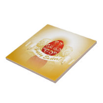 Happy Easter Red and Golden Eggs Ceramic Tile