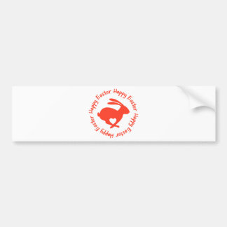Happy Easter, red rabbit with heart Bumper Sticker