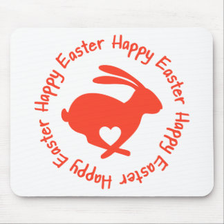 Happy Easter red rabbit with heart Mousepads