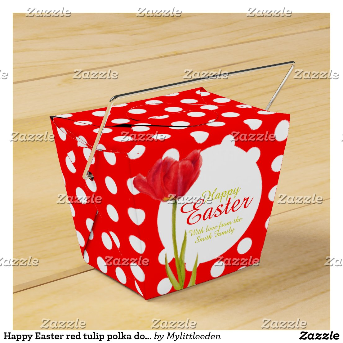 Happy Easter red tulip polka dot gift favors box