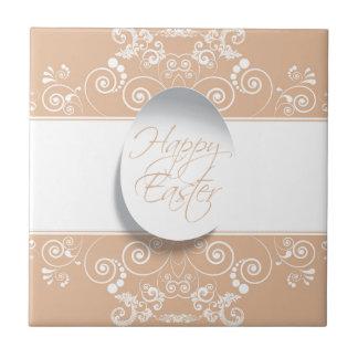 Happy Easter Ribbon (Tan) Ceramic Tile