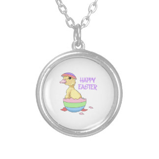 HAPPY EASTER ROUND PENDANT NECKLACE