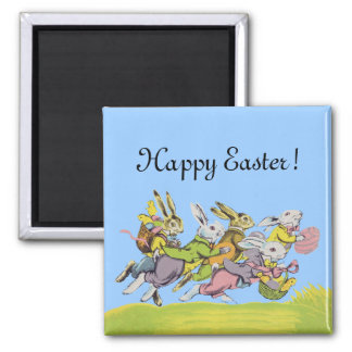 Happy Easter Running Pastel Rabbits 2 Inch Square Magnet