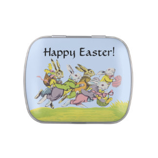 Happy Easter Running Pastel Rabbits Candy Tins