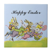 Happy Easter Running Pastel Rabbits Ceramic Tile