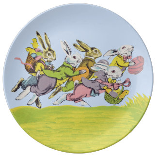 Happy Easter Running Pastel Rabbits Porcelain Plate