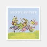 Happy Easter Running Pastel Rabbits Paper Napkins