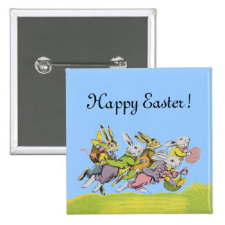 Happy Easter Running Pastel Rabbits Pinback Button