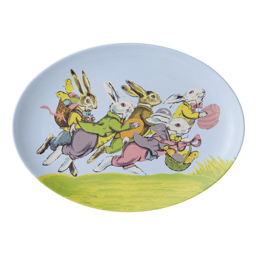 Happy Easter Running Pastel Rabbits Porcelain Serving Platter