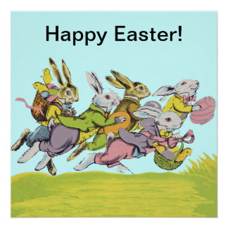 Happy Easter Running Pastel Rabbits Poster