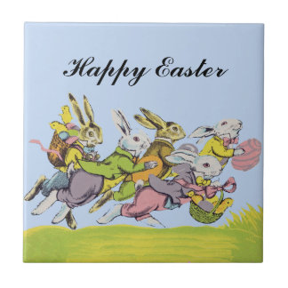 Happy Easter Running Pastel Rabbits Small Square Tile