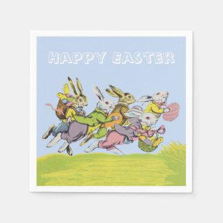 Happy Easter Running Pastel Rabbits Standard Cocktail Napkin