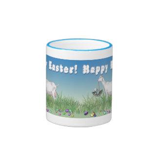 Happy Easter Saanen Goat with Easter Basket Ringer Coffee Mug