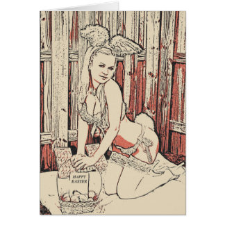 Happy easter, sexy bunny girl posing in lingerie card