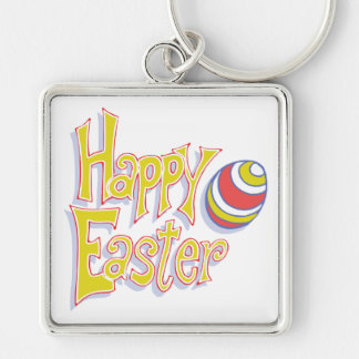 Happy Easter Silver-Colored Square Keychain