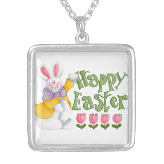Happy Easter Silver Plated Necklace