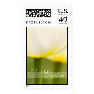 Happy Easter Simple White Tulips Postage