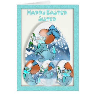Happy Easter Sister Card, with bunny Card
