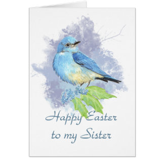 Happy Easter Sister Eastern Mountain Bluebird Greeting Card