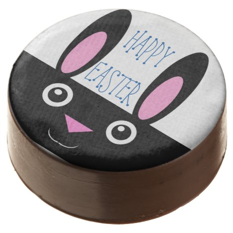 Happy Easter Smiling Bunny Chocolate Dipped Oreo