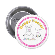Happy Easter Snow Bunnies (Yellow Text) Buttons