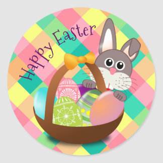Happy Easter Spring Checkerboard Pattern Classic Round Sticker