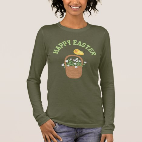 Happy Easter, Spring Flower Basket with Chick Long Sleeve T-Shirt