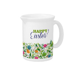 Happy Easter Spring Flowers & Easter Eggs Design Drink Pitcher