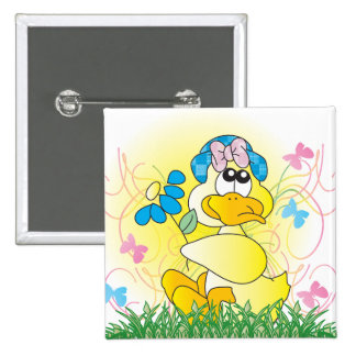 Happy Easter Spring Time Duck Button Buttons