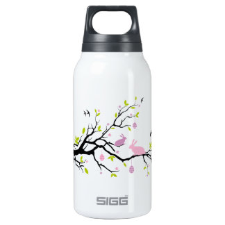 Happy Easter, spring tree with pink bunnies Insulated Water Bottle