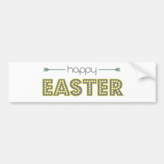 happy easter spring yellow mint green simple bumper sticker