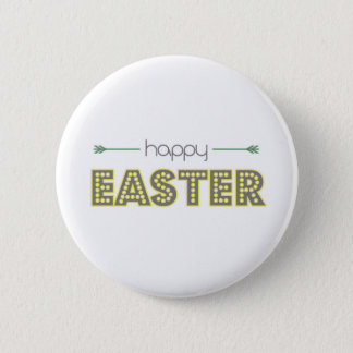 happy easter spring yellow mint green simple button