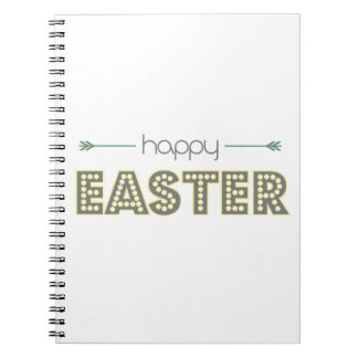happy easter spring yellow mint green simple notebook