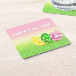 Happy Easter Square Paper Coaster