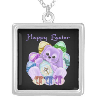 Happy Easter Square Pendant Necklace