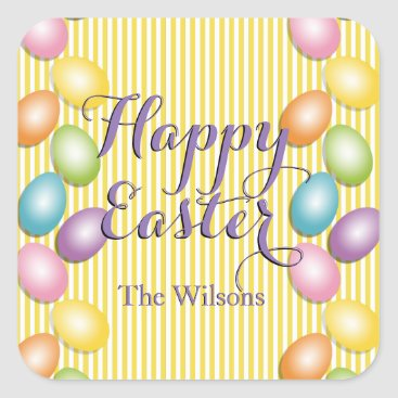 Professional Business Happy Easter Striped Family or Business Square Sticker
