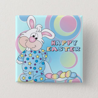 Happy Easter Sweet Bunny Boy with Eggs Pinback Button