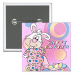 Happy Easter Sweet Bunny Girl with Eggs Pinback Button