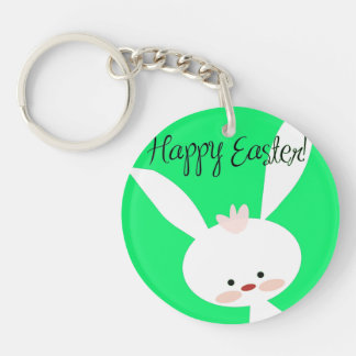 Happy Easter Sweet Easter Bunny Single-Sided Round Acrylic Keychain