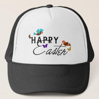 Happy Easter Text Design With Butterflies & Birds Trucker Hat