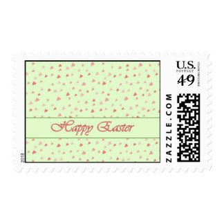 Happy Easter Tiny Hearts on Mint Color Stamp