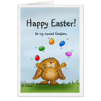 Happy Easter to my Godson- Juggling Bunny Greeting Card