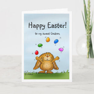 Godson easter gifts on zazzle happy easter to my godson juggling bunny holiday card negle Choice Image