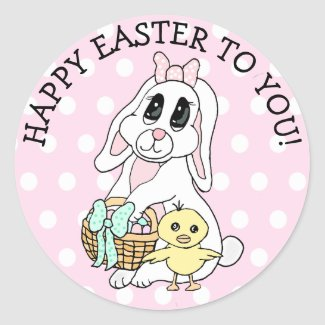 Happy Easter To You Bunny and Chick Classic Round Sticker