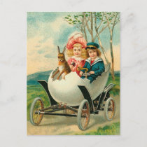 Happy Easter To You Eggshell Car Vintage Holiday Postcard